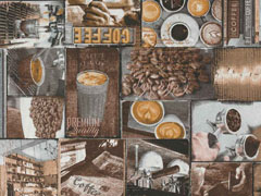 Dekostoff Kaffee Motive Coffee Time, grau schwarz braun