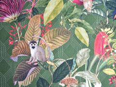 Dekostoff Affen tropische Blätter Orchideen Digitaldruck, grün