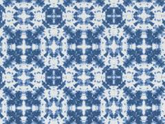 Dekostoff Batik Kreise, weiß indigoblau