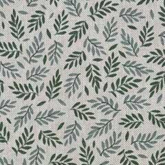 Dekostoff kleine Zweige Leinen Optik, grün natur