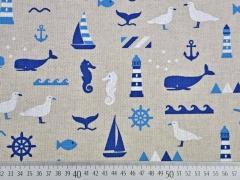 Leinenlook maritime Motive, blau auf natur