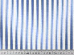 Dekostoff Triple-Streifen, blau ecrue