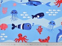 Dekostoff Meerestiere, hellblau