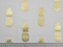 Dekostoff Metallic Pineapple Ananas, gold creme