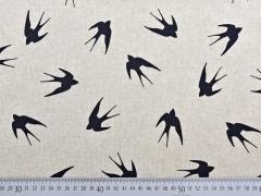 Leinenlook Schwalben, schwarz natur