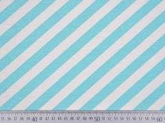 Dekostoff diagonale Streifen, helltürkis weiß