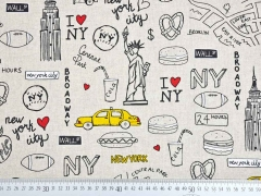 Leinenlook New York, gelb natur