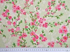 Dekostoff Kirschblütenzweige, hellgrün