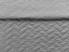 RESTSTÜCK 80 cm gesteppter Jersey Zickzack mittelgrau