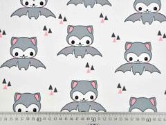 Bio-Jersey Fledermaus Happy Bat weiß lachsrosa Bloome Copenhagen