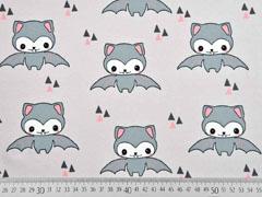 RESTSTÜCK 51 cm Bio-Jersey Happy Bat Bloome CPH,  grau lachsrosa