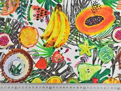 Dekostoff tropische Früchte Digitaldruck, gelb orange weiss