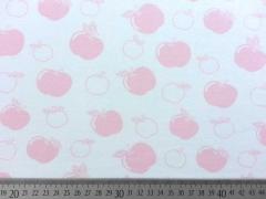 RESTSTÜCK 92 cm Bio-Jersey Stenzo Äpfel,  rosa auf weiss