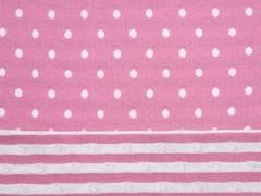 Doubleface Jacquardjersey Punkte Streifen Stenzo , creme rosa