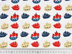 Jersey Panel 2 in 1 Piratenschiffe, weiß rot