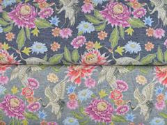 Jersey Digitaldruck Blumen Stenzo, dunkelblau meliert