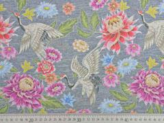 Jersey Digitaldruck Blumen Stenzo, grau meliert