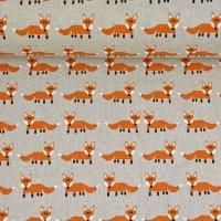 Dekostoff Leinen Optik Füchse, rostbraun natur