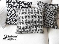Jacquard Stoff Labyrinth Doubleface, schwarz weiss