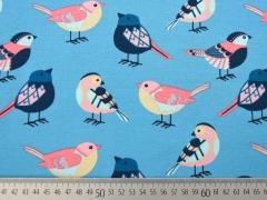 Reststück 88cm Jersey gemusterte Vögel, coralle auf hellblau