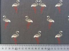 RESTSTÜCK 28 cm Jersey Glitzer Flamingos, dunkelgrau