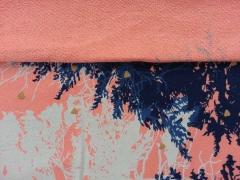 RESTSTÜCK 144 cm French Terry (Sweat)  Waldleben Panel, koralle
