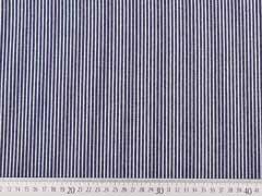 RESTSTÜCK 30 cm leichter Jeans Streifen, weiss auf dunkelblau