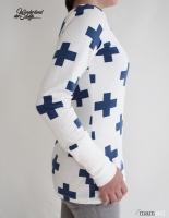 Jersey Kreuz , mittelblau auf weiß