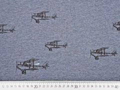 RESTSTÜCK 127 cm Sweatstoff Flugzeuge angeraut, dunkelblau