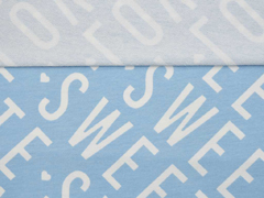 French Terry Sweat CUTE SWEET LOVE, weiß hellblau