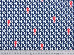 RESTSTÜCK 24 cm Jersey Seepferdchen Mies & Moos, blau rot cremeweiß