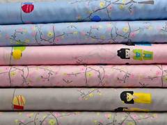 Baumwollstoff kleine Geisha & Freunde Bordüre, rosa