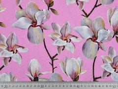 Blusenstoff Digitaldruck Magnolien, rosa