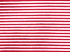 Jerseystoff Streifen garngefärbt 5 mm, rot weiß