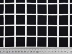 Jersey quadratisches Netzmuster, schwarz/weiss