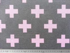 Ottoman Dekostoff Kreuze, rosa auf grau