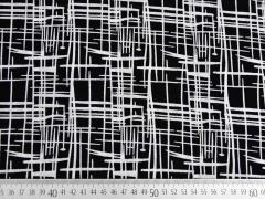RESTSTÜCK 34 cm Viskose gestricheltes Muster, schwarz/weiß