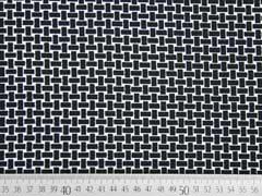 Crepe Jersey Gitternetz Muster, schwarz/weiß