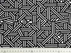 Crepe Jersey grafisches Muster, schwarz/weiß