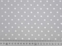 RESTSTÜCK 35 cm Viskose Punkte 8 mm, weiß auf hellgrau