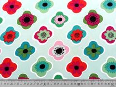 RESTSTÜCK 102 cm Softshell Stoff Retro-Blüten, bunt auf mint