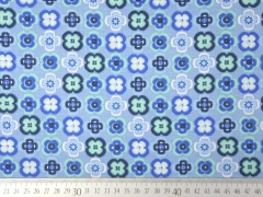 RESTSTÜCK 32 cm Alpenfleece Sweat Blümchen 2cm, hellblau