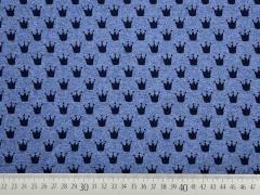 French Terry kleine Kronen, jeansblau melange