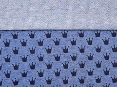 Sweatstoff French Terry kleine Kronen, jeansblau melange