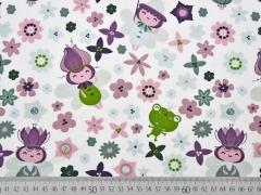 Jersey Waldmännchen & Blumen, weiß