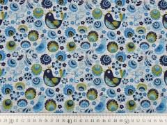 Jersey Vögel & Blumen, dunkelblau/hellgrau melange