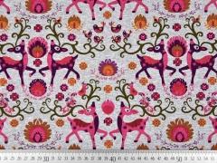 Jerseystoff Rehe & Vögel, pink hellgrau melange