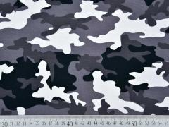 Jerseystoff Camouflage, grau schwarz