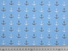 Jersey Anker, beige/weiß auf hellblau