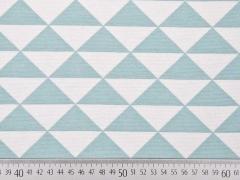 RESTSTÜCK 80 cm Dekostoff Dreiecke, dunkelmint weiss